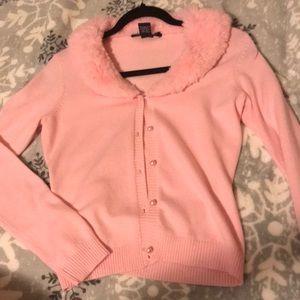 fluffy fuzzy pink cardigan pearl kawaii lolita fur